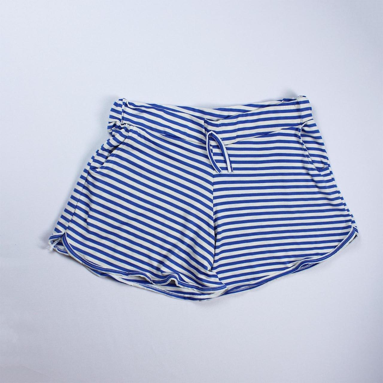 Short Viscolycra Feminino - Listrado Branco e Azul