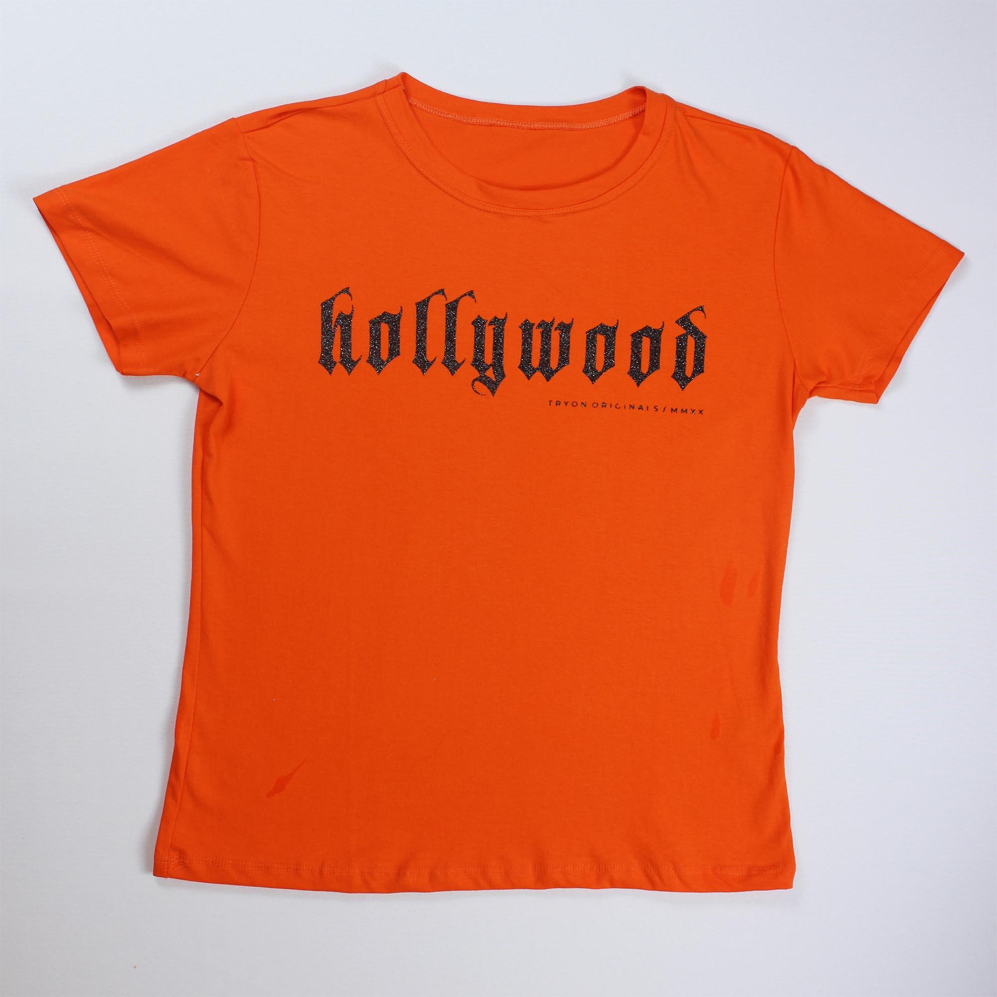 T-Shirt Hollywood Feminina - Laranja