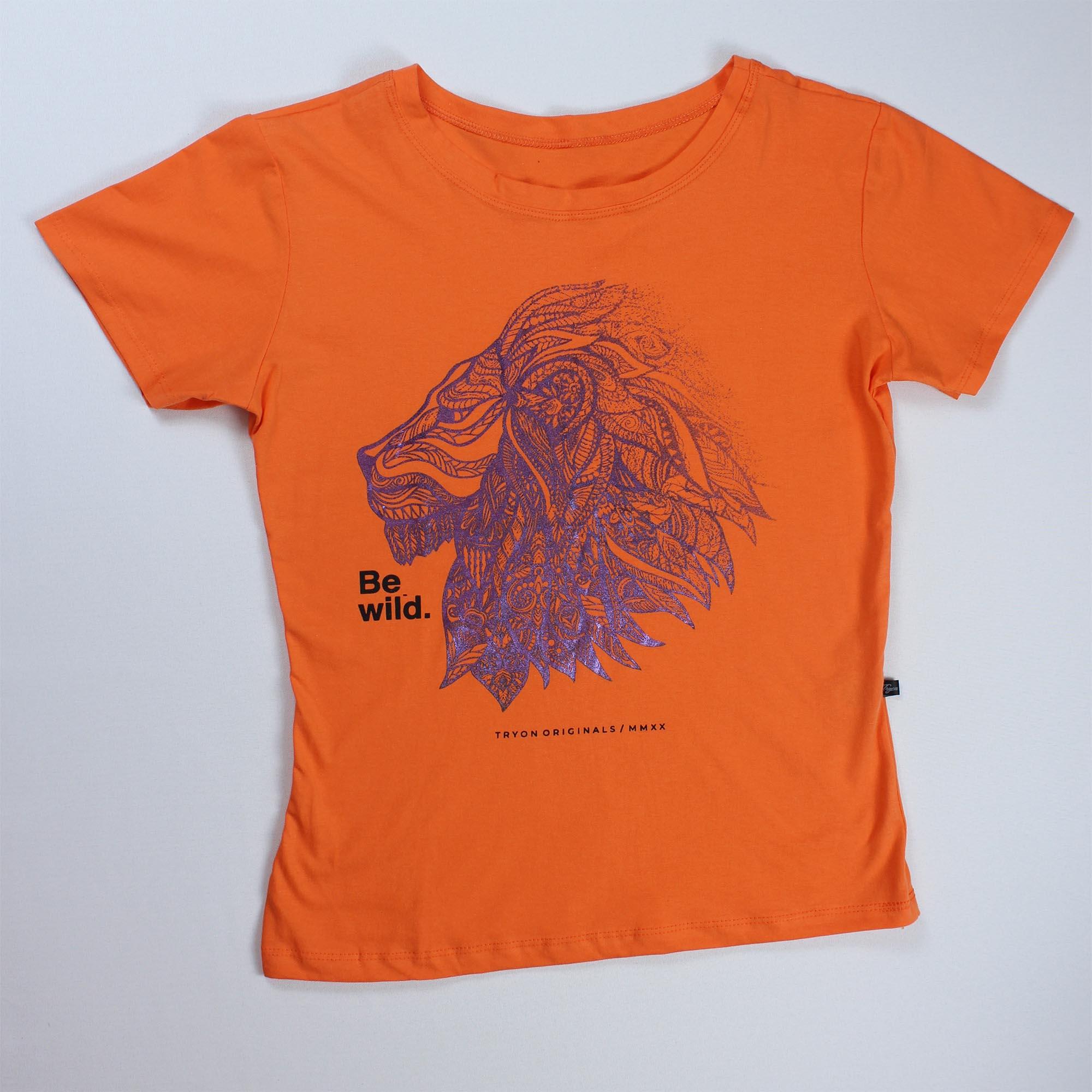 T-Shirt Lion Feminina - Laranja