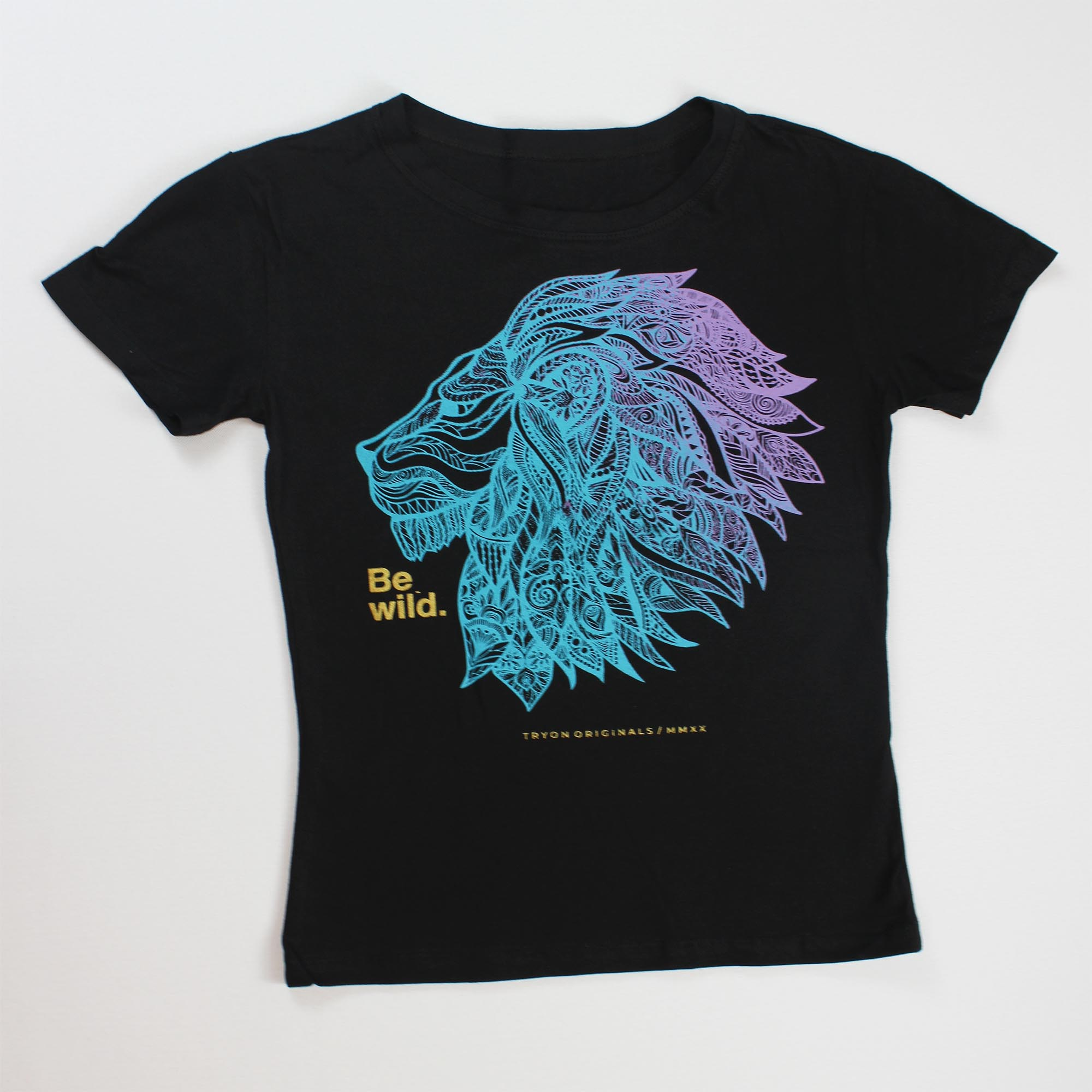 T-Shirt Lion Feminina - Preta e Azul