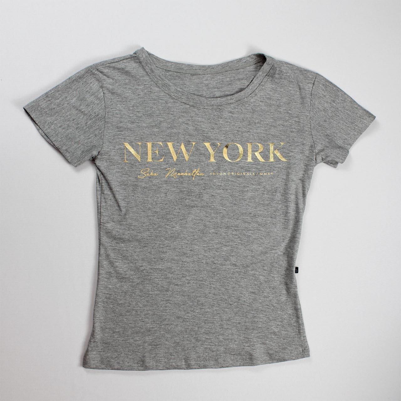 T-Shirt New York Feminina - Cinza e Dourada