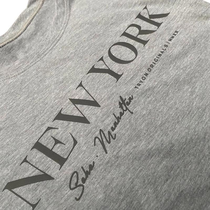 T-Shirt New York Feminina - Cinza e Cinza Chumbo
