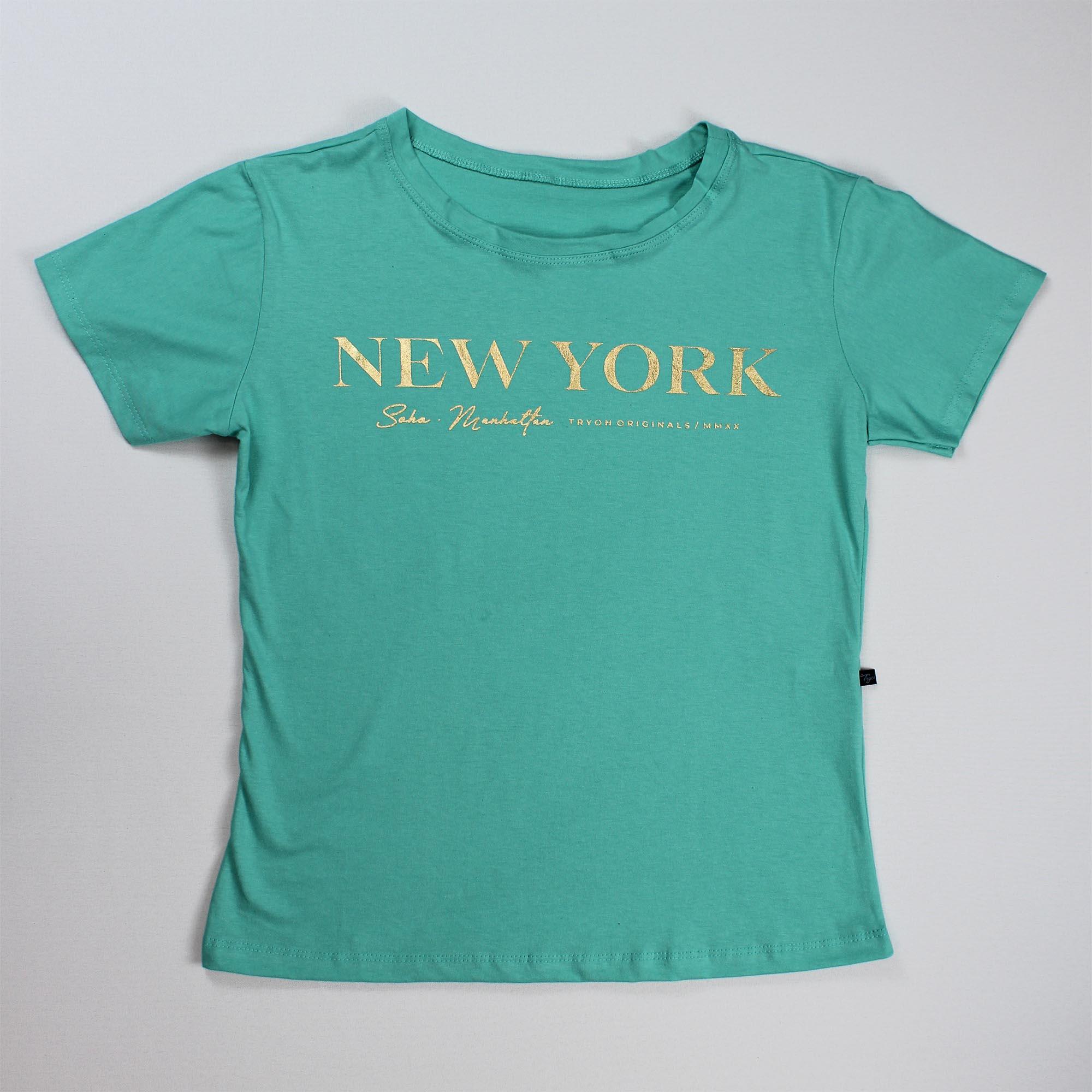 T-Shirt New York Feminina - Verde Água e Dourado
