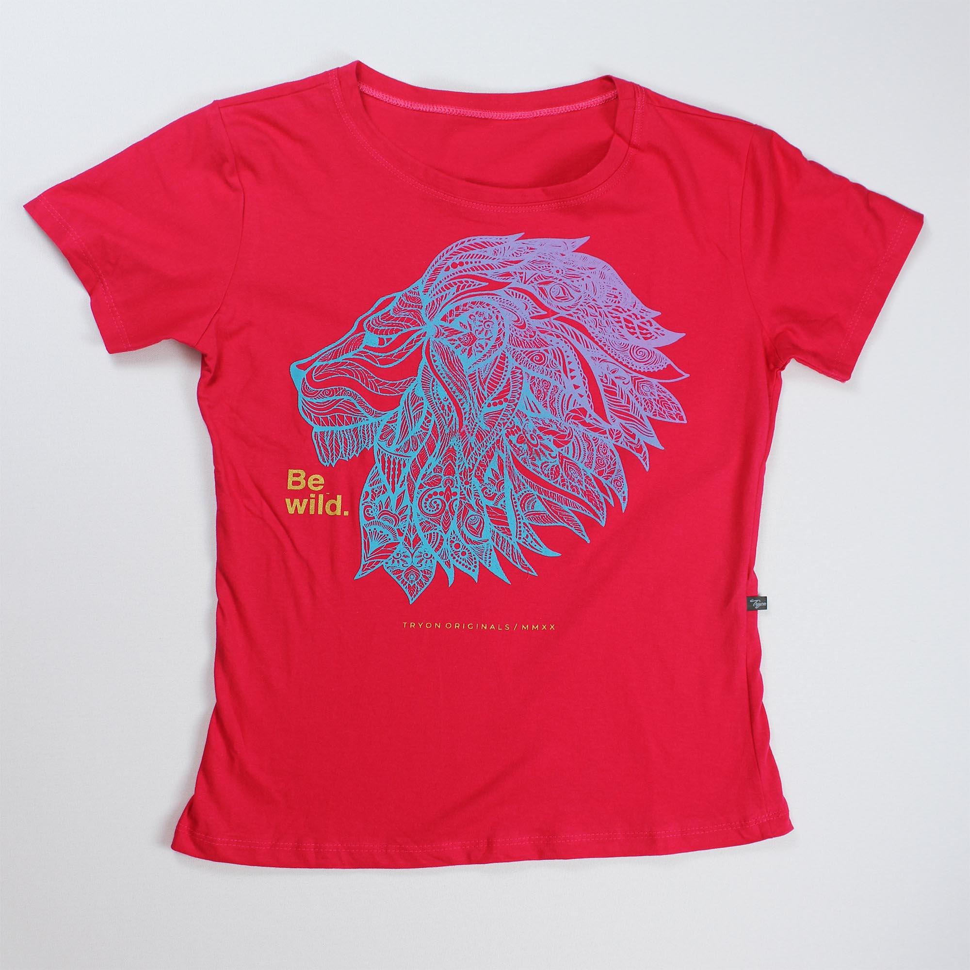 T-Shirt Lion Feminina - Rosa Pink