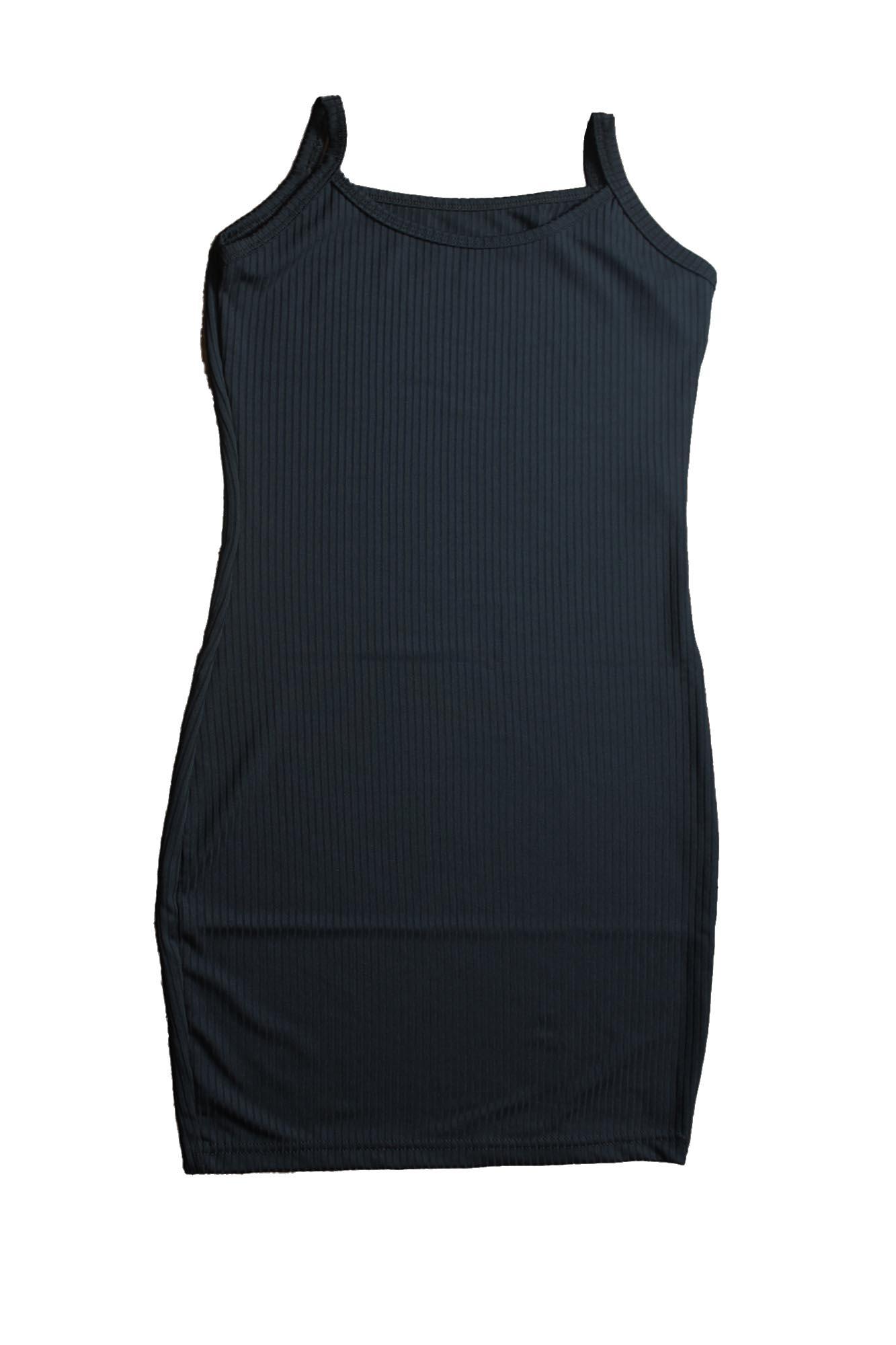 Vestido Básico Justo Sem Manga Feminino - Preto