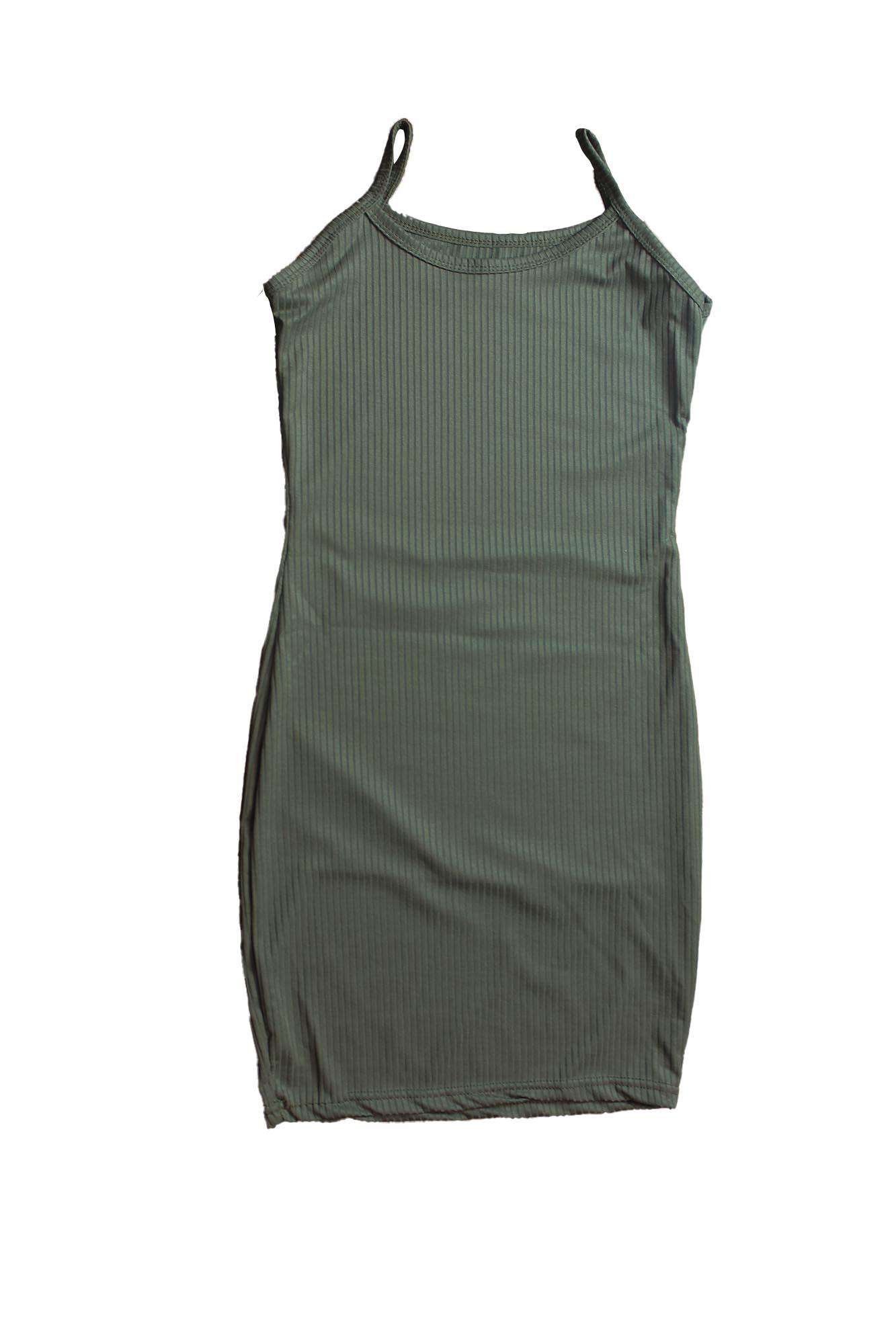 Vestido Básico Justo Sem Manga Feminino - Verde Escuro