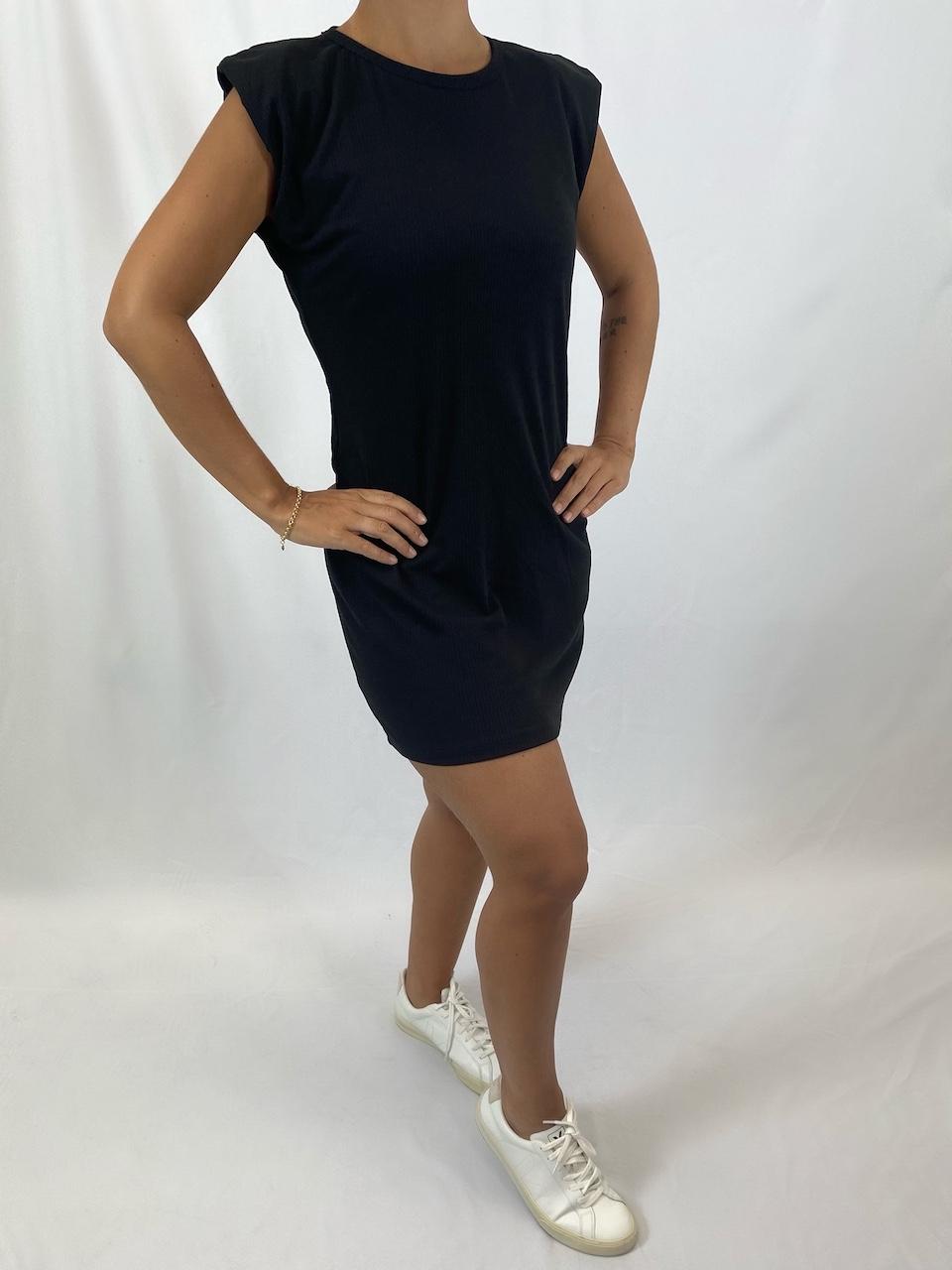 Vestido Canelado Muscle Feminino - Preto