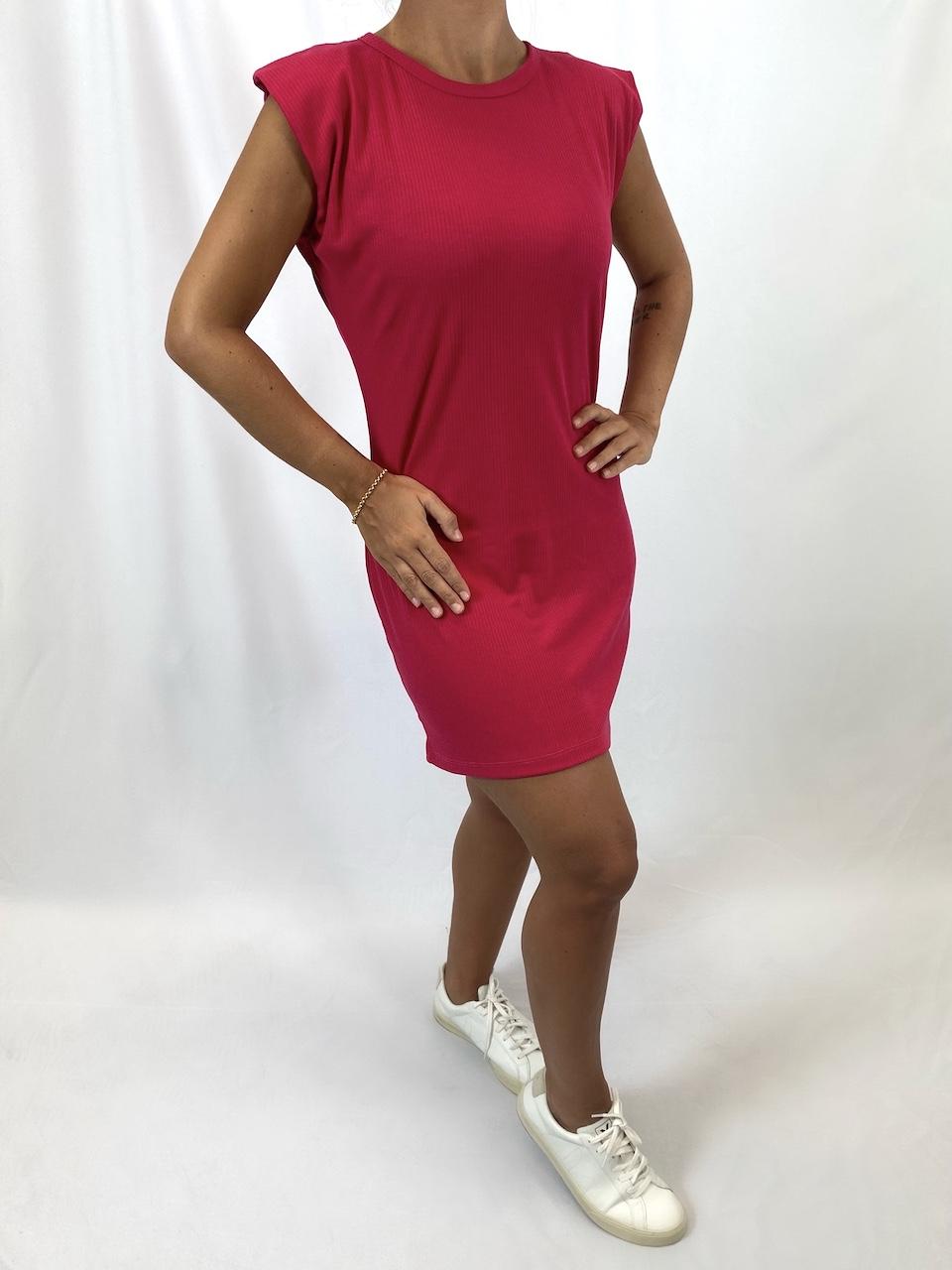 Vestido Canelado Muscle Feminino - Rosa Pink