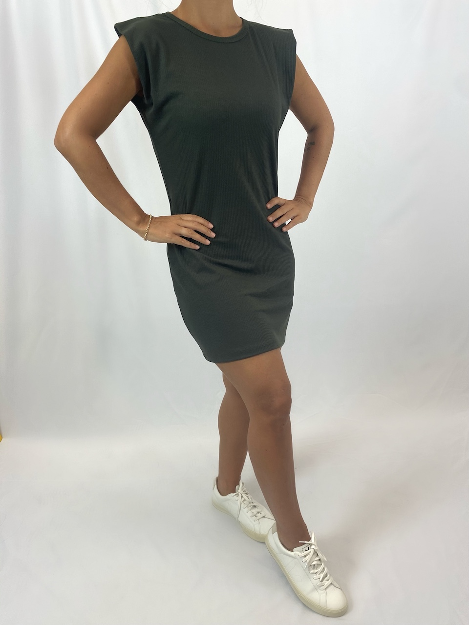 Vestido Canelado Muscle Feminino - Verde Escuro