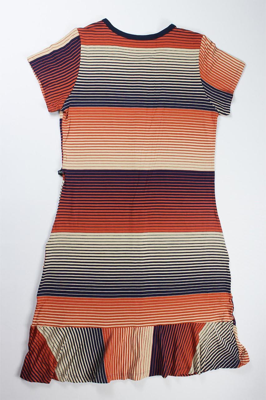 Vestido Com Botão e Babado Feminino - Azul Marinho e Terracota