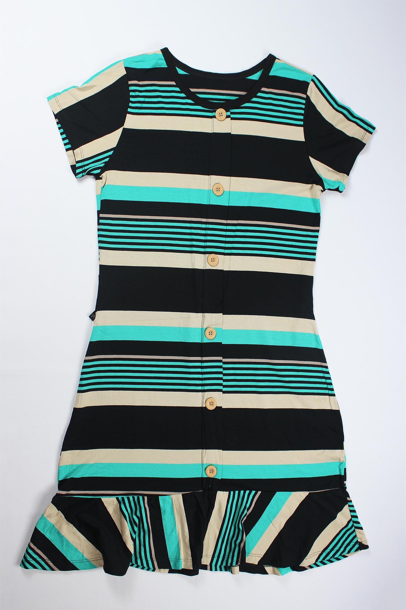 Vestido Com Botão e Babado Feminino - Preto e Azul Turquesa