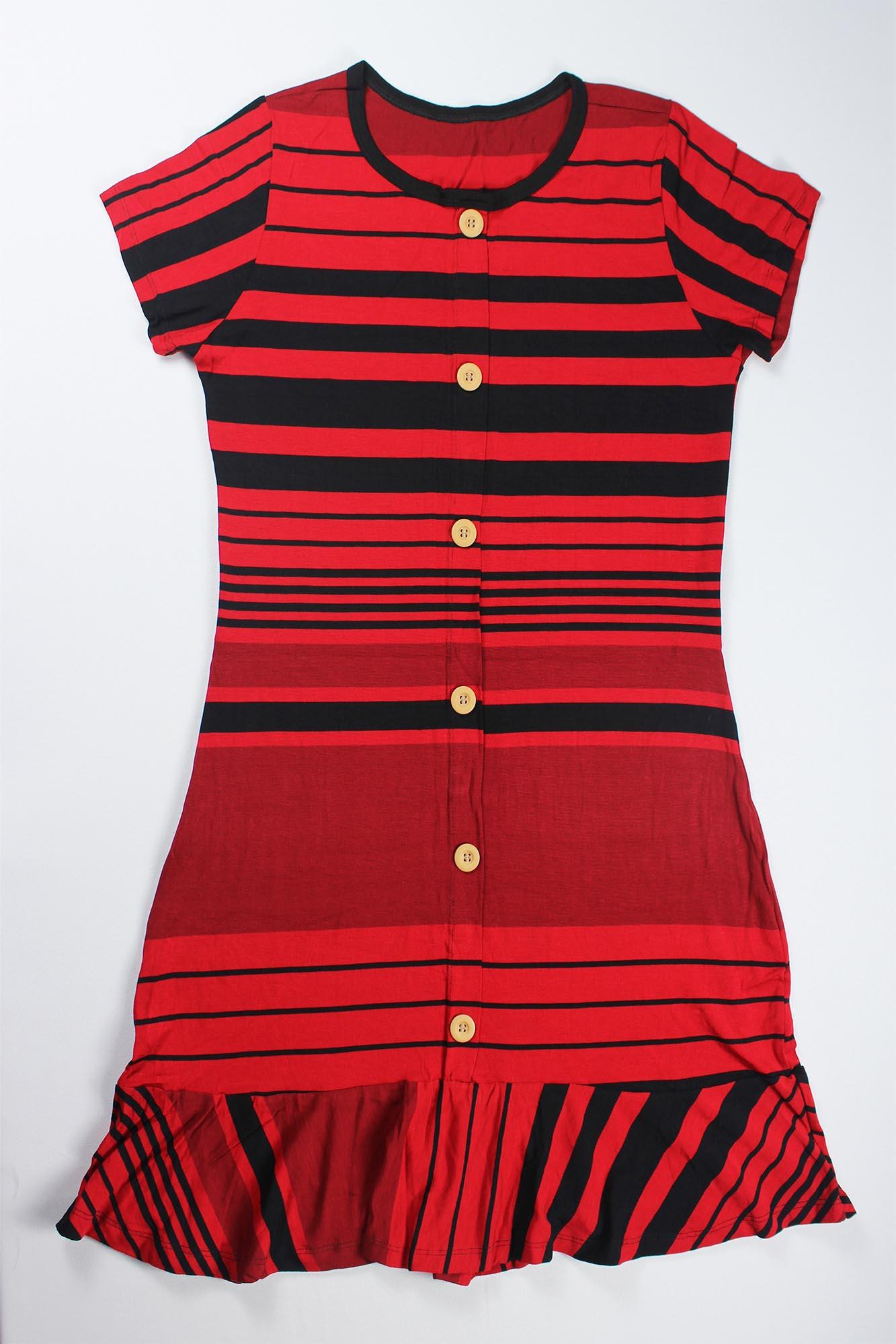 Vestido Com Botão e Babado Feminino - Vermelho e Preto