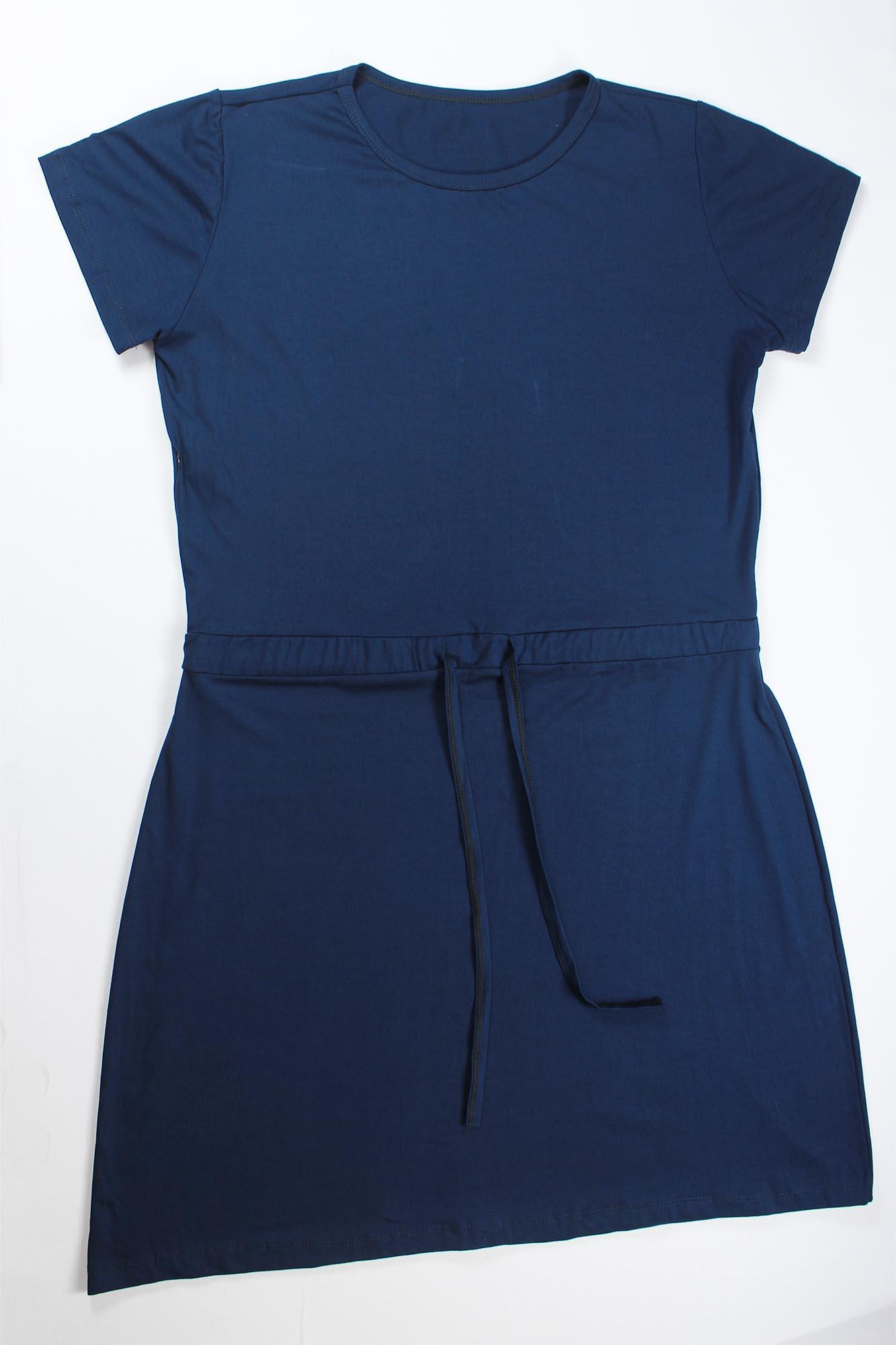 Vestido Curto de Amarrar Feminino - Azul Marinho