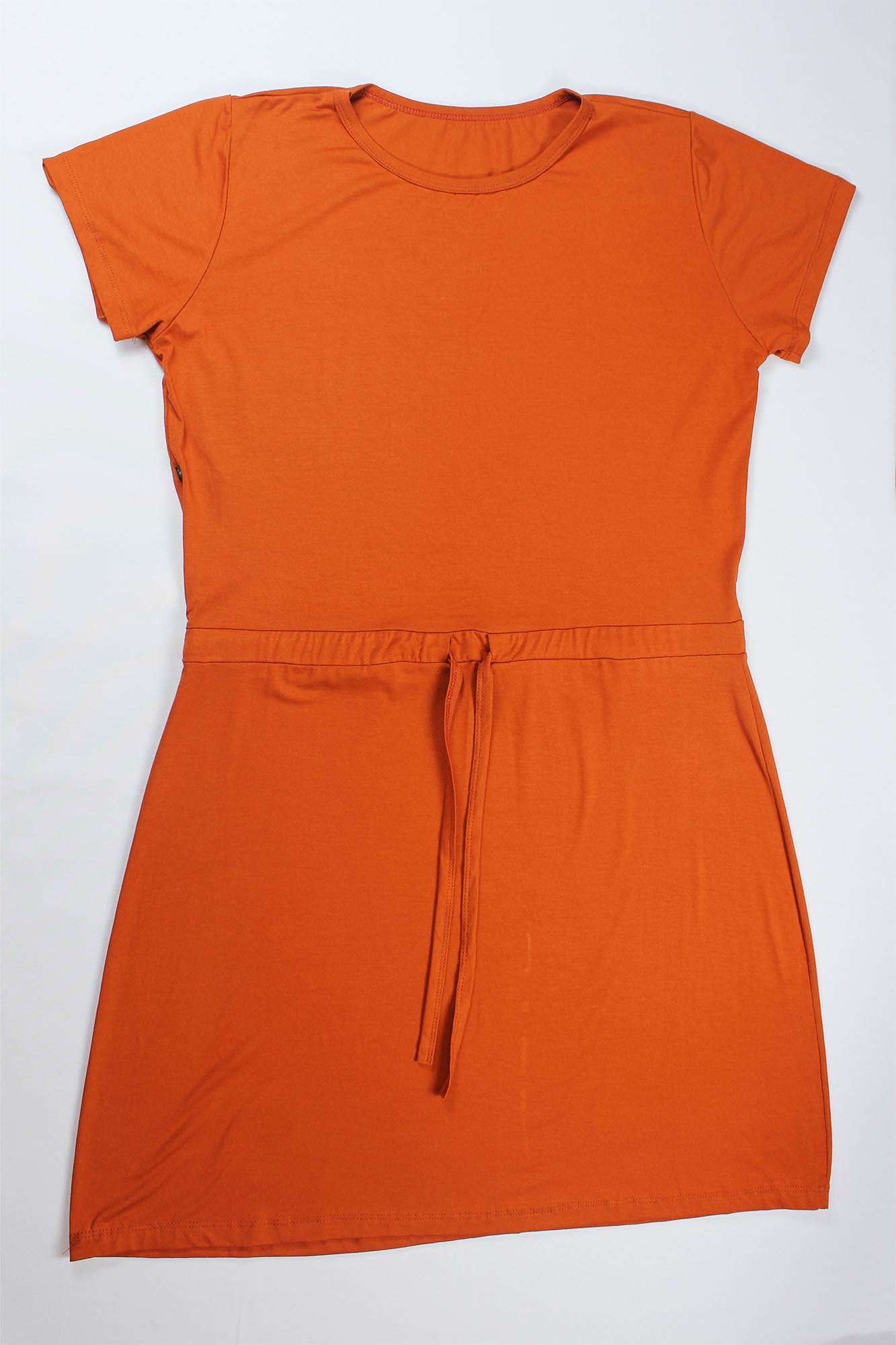 Vestido Curto de Amarrar Feminino - Terracota