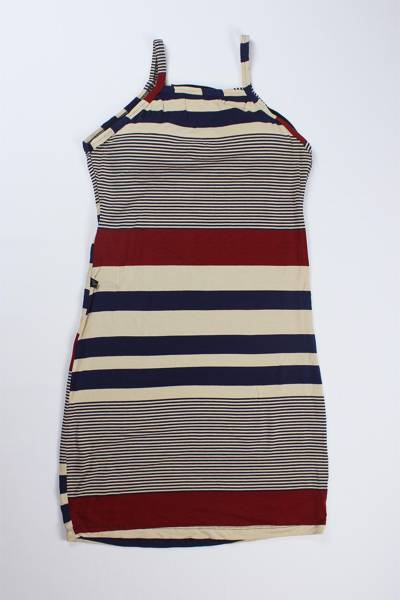 Vestido Curto Listrado com Bojo Feminino - Azul Marinho, Bege e Bordô