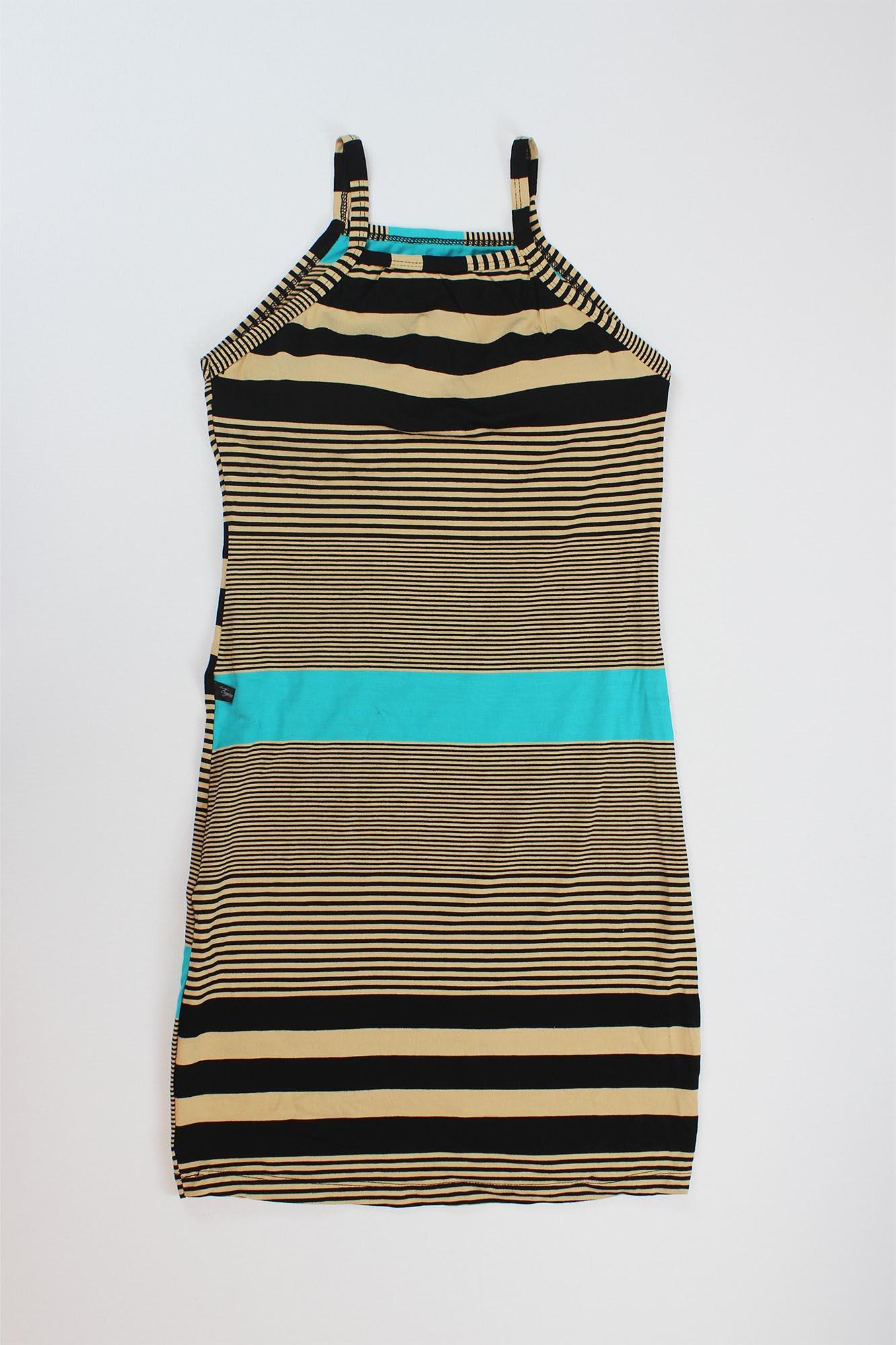 Vestido Curto Listrado com Bojo Feminino - Preto, Bege e Azul Turquesa