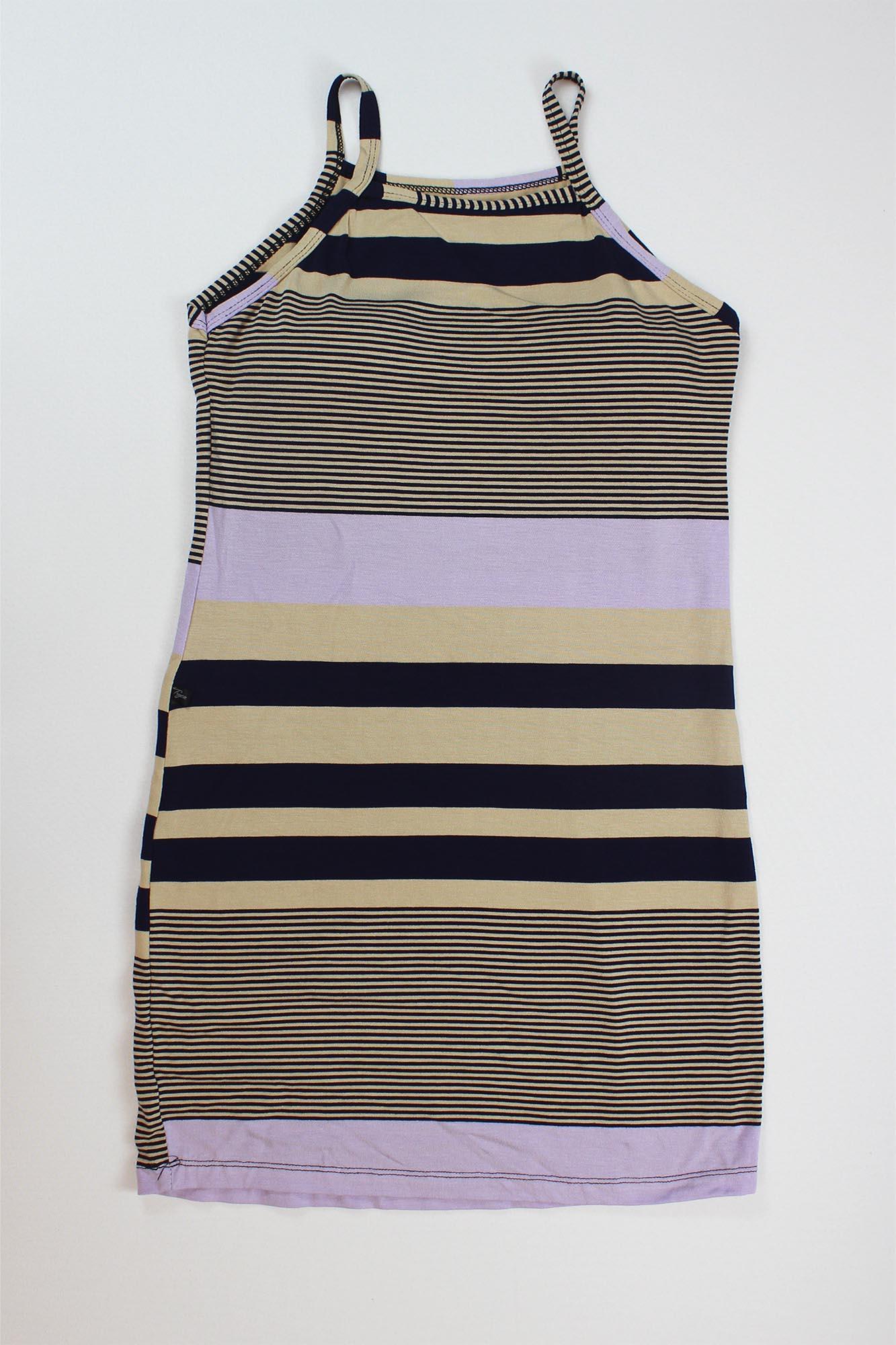 Vestido Curto Listrado com Bojo Feminino - Preto, Bege e Lilás