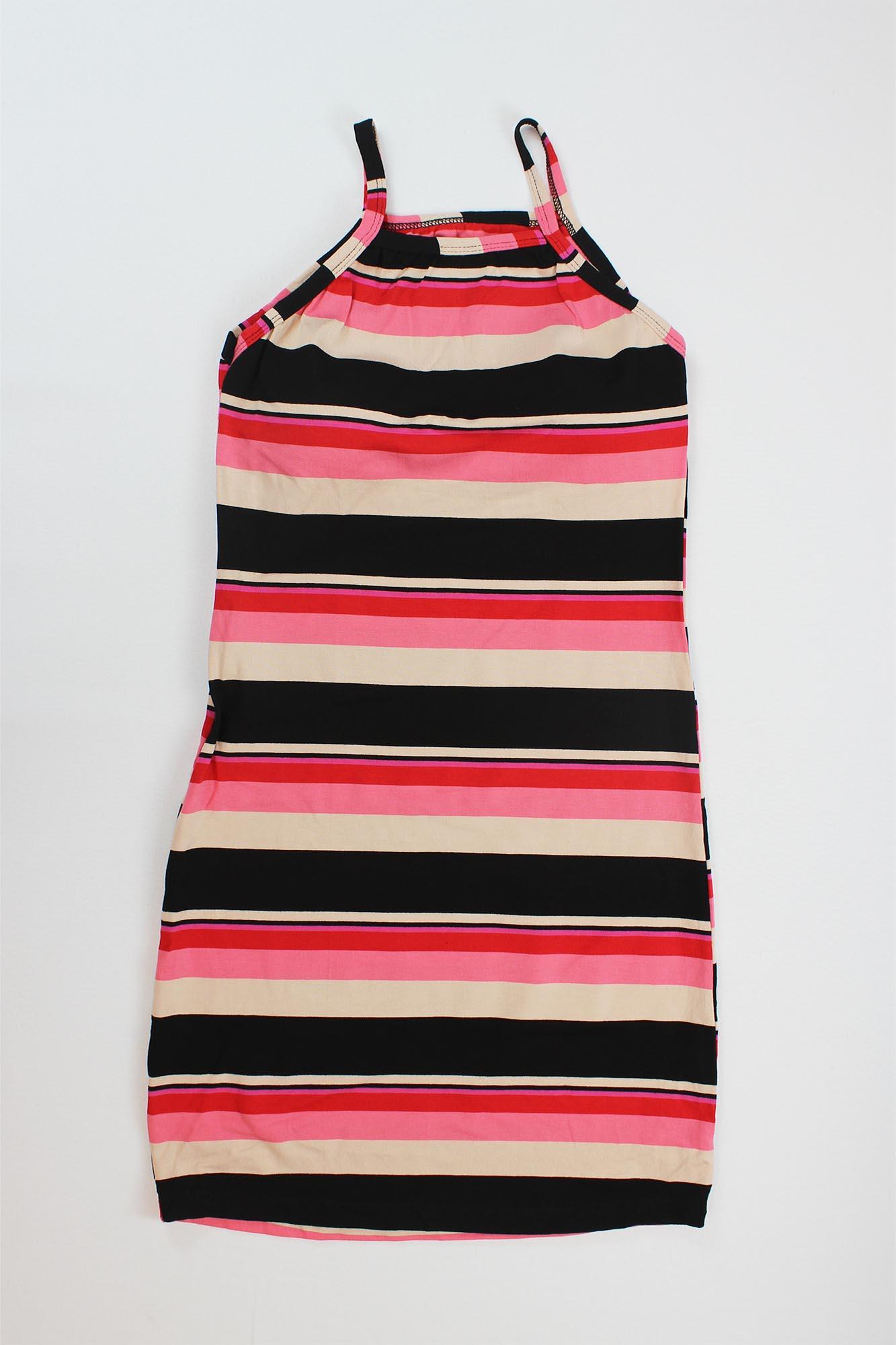 Vestido Curto Listrado com Bojo Feminino - Preto, Bege, Rosa e Vermelho