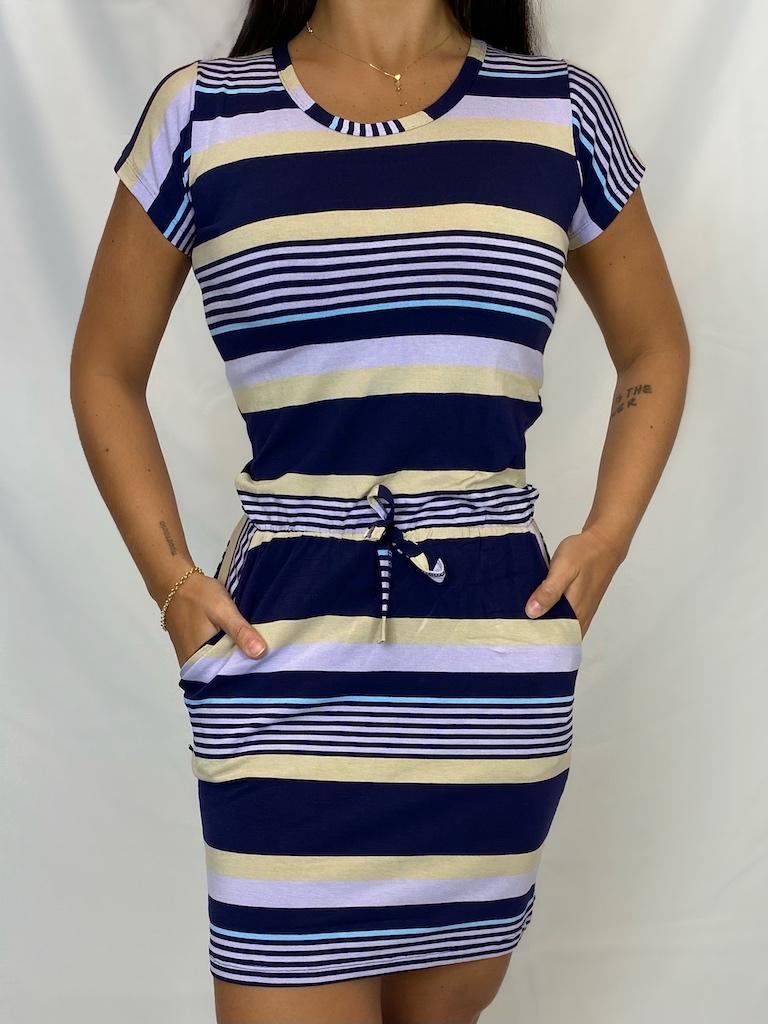 Vestido Curto Listrado com Cordão Feminino - Azul Marinho, Bege e Lilás