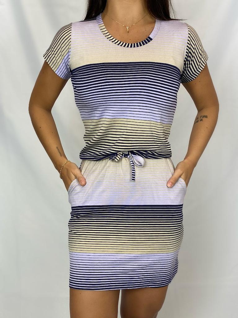 Vestido Curto Listrado com Cordão Feminino - Lilás, Preto e Azul Marinho