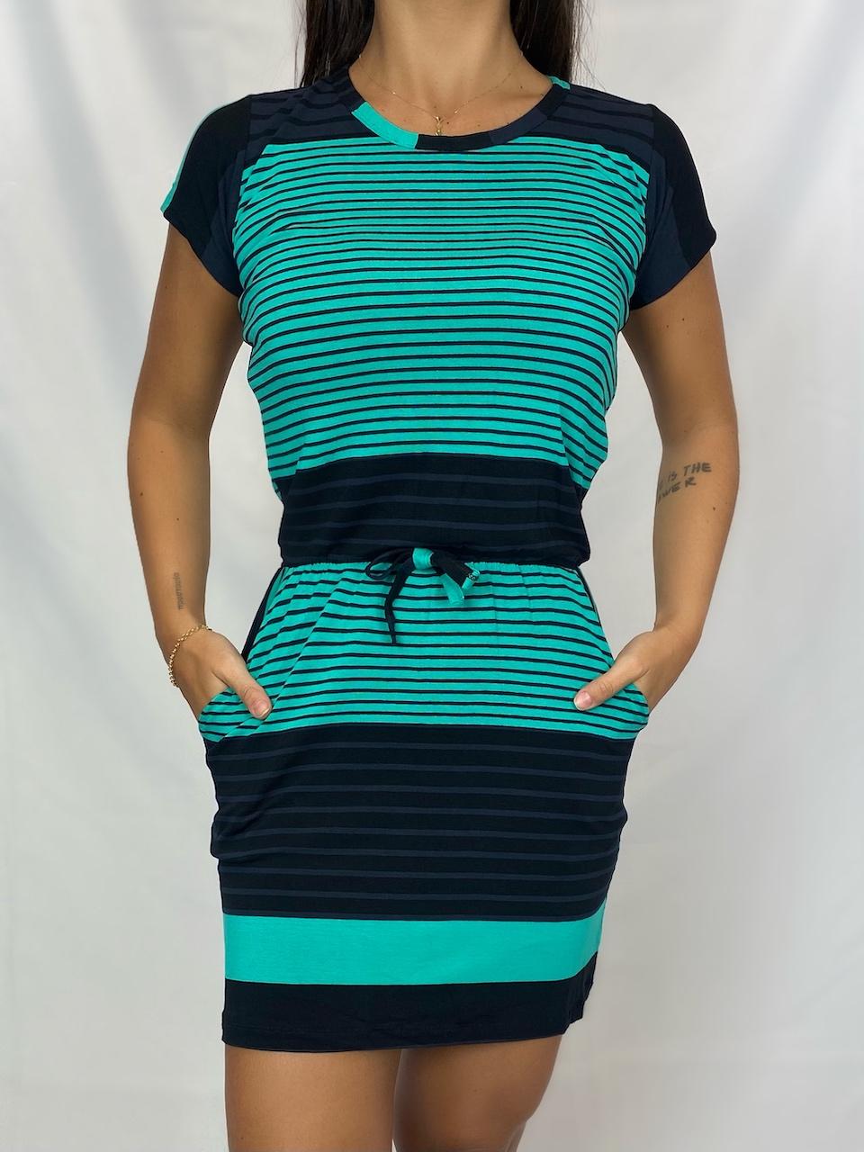 Vestido Curto Listrado com Cordão Feminino - Verde e Preto