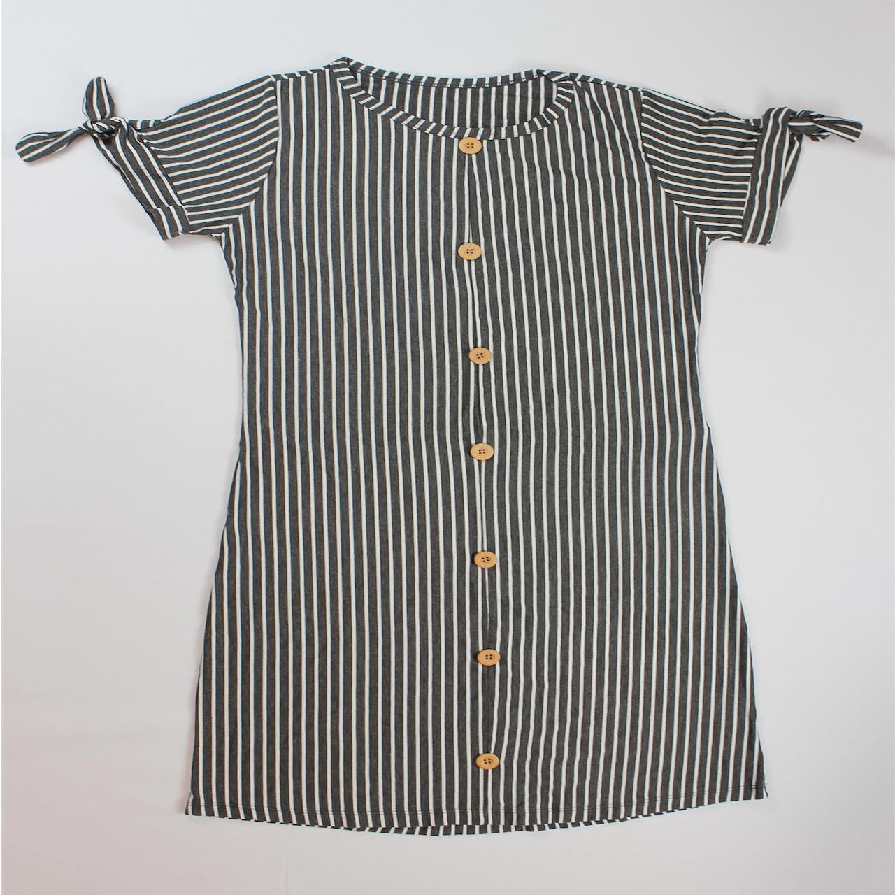 Vestido Curto Listrado com Laço na Manga Feminino - Cinza e Branco