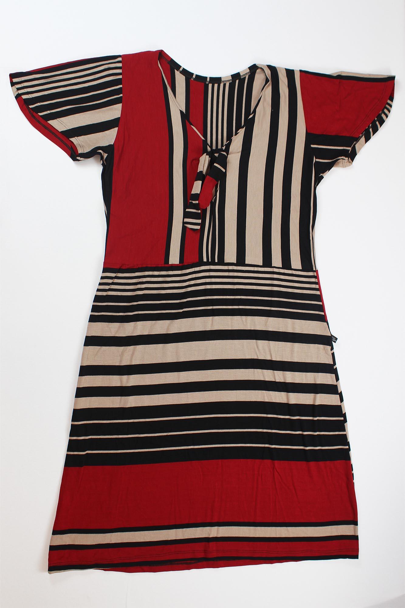 Vestido Curto Listrado Laço Decote Feminino - Terracota e Preto
