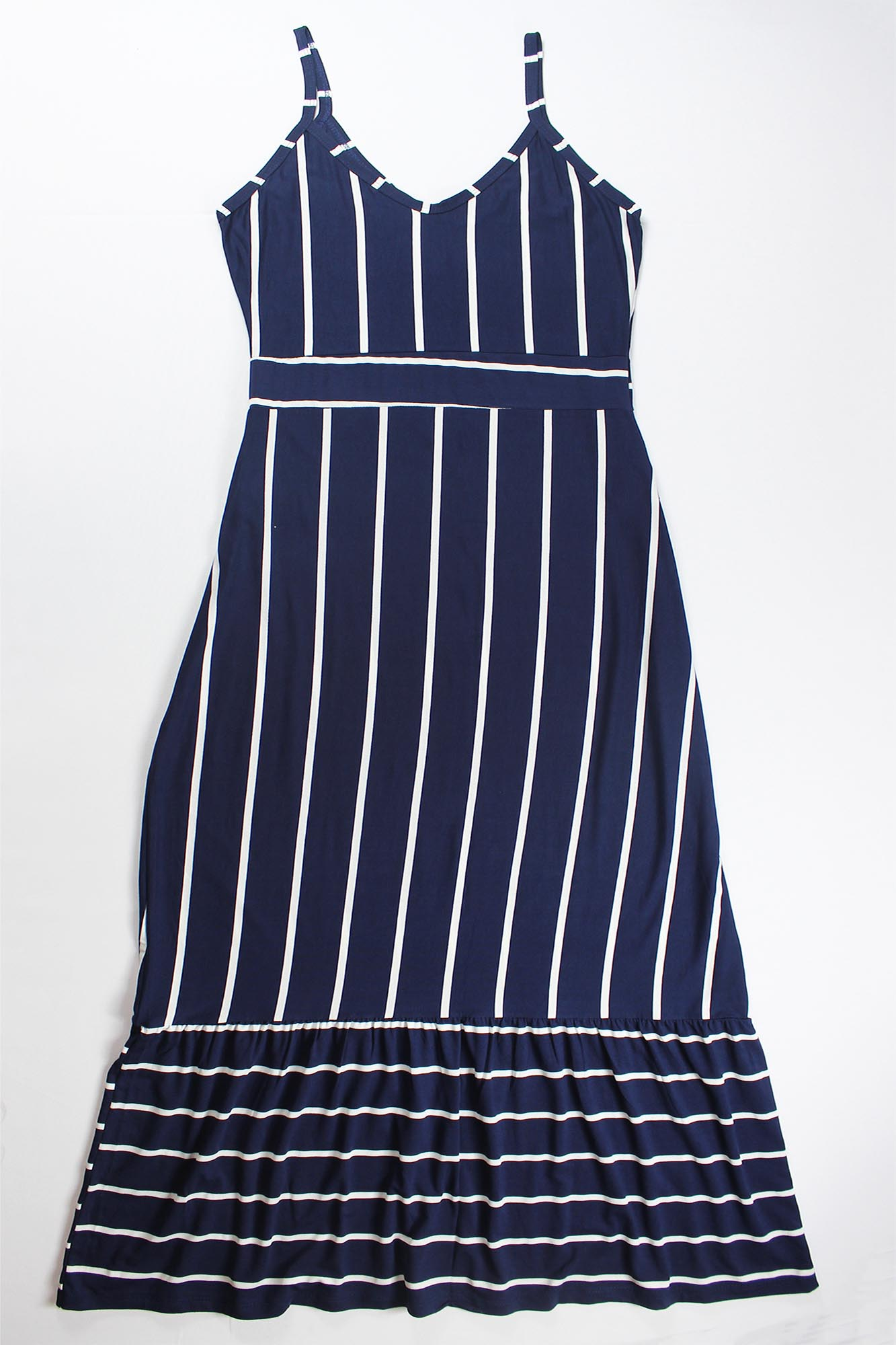 Vestido Longo Listrado com Alça Feminino - Azul Marinho e Branco