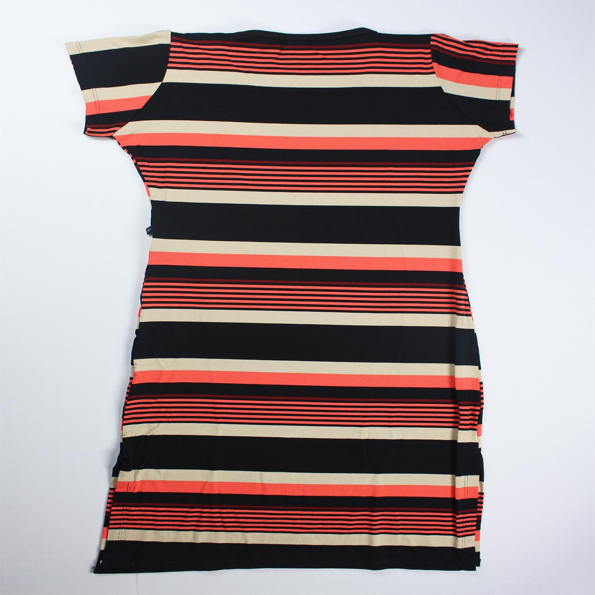 Vestido Midi Listrado com Manga Curta Feminino - Preto, Bege e Laranja