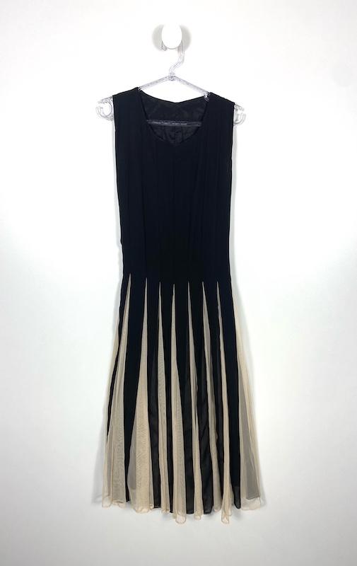 Vestido Midi Preto com Pregas em Tule Nude Feminino - Tamanho M