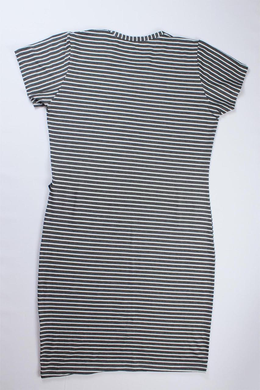Vestido Tubinho Listrado Feminino - Cinza e branco Listra Fina