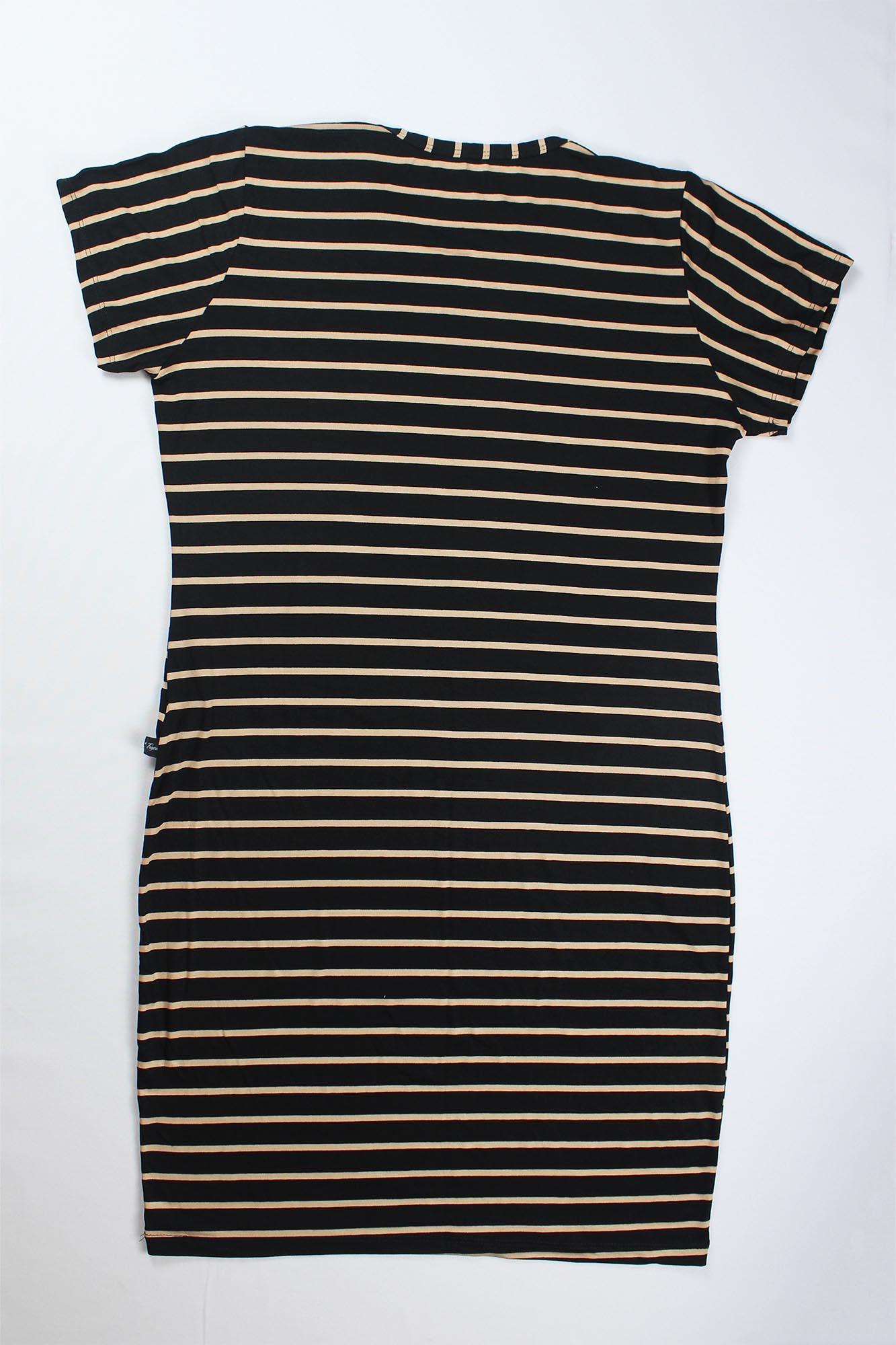 Vestido Tubinho Listrado Feminino - Preto e dourado Listra Grossa