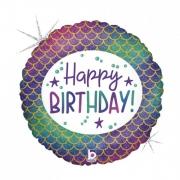 Balão Glitter Sereia Happy Birthday Holográfico 18