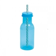 Garrafinha de Plástico C/Canudo Azul - Personalize a Sua