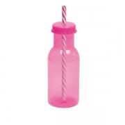 Garrafinha de Plástico C/Canudo Rosa - Personalize a Sua