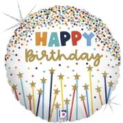 Happy Birthday Velas com Estrelas Holográfico - 18