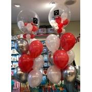 Teddys Bouquet - Arranjo com Bubbles e Balões de Látex .