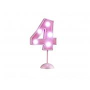 Vela Grande Led Rosa - Número 4