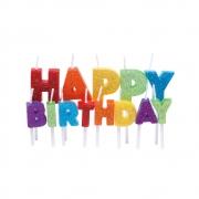 Velas Letras Happy Birthday Glitter Colorido - 01 unidade