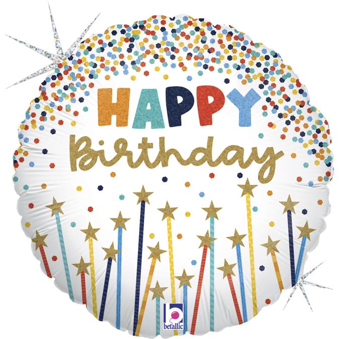 """Happy Birthday Velas com Estrelas Holográfico - 18""""  Ean :030625261173"""