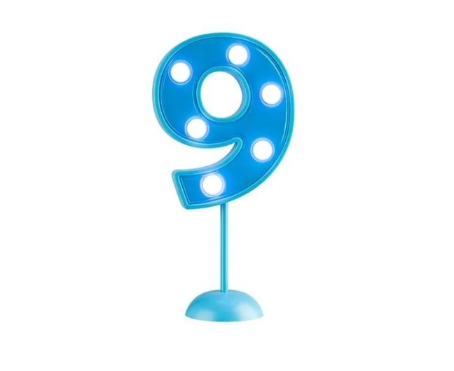 Vela Grande Led Azul - Número 9