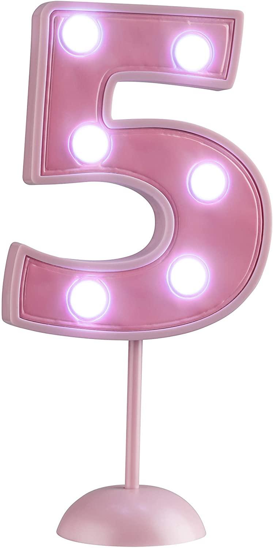 Vela Grande Led Rosa - Número 5