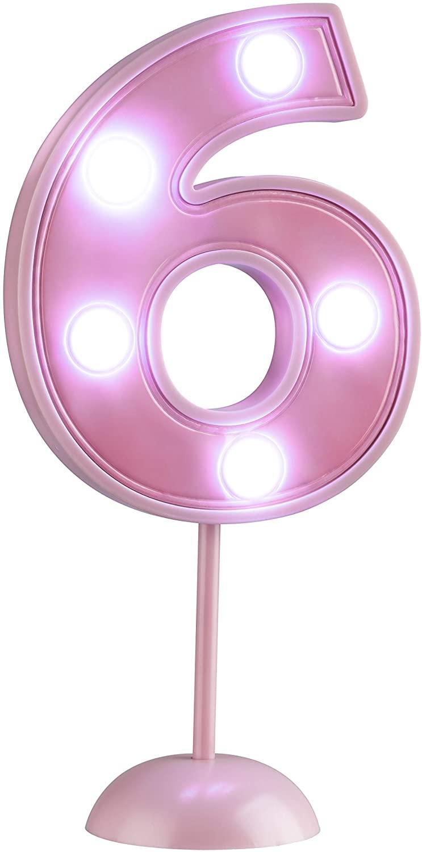 Vela Grande Led Rosa - Número 6