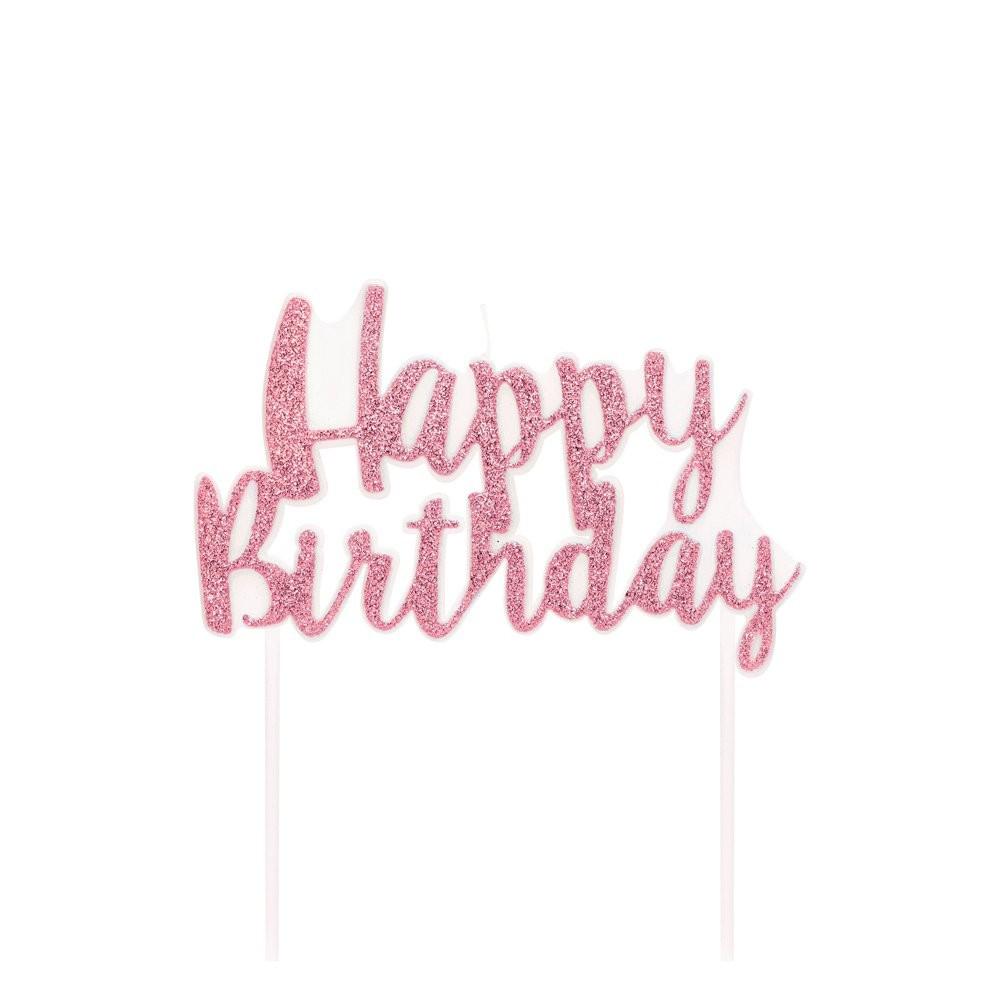 Vela Happy Birthday Rosa Claro - 01 unidade