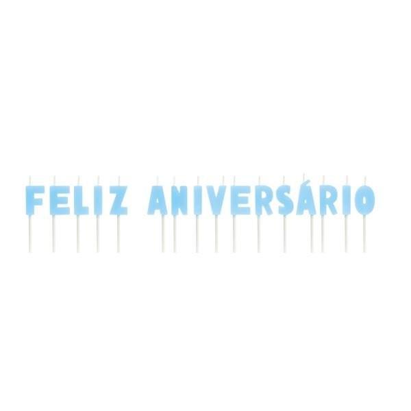 Vela Letras Feliz Aniversario Azul - 01 unidade