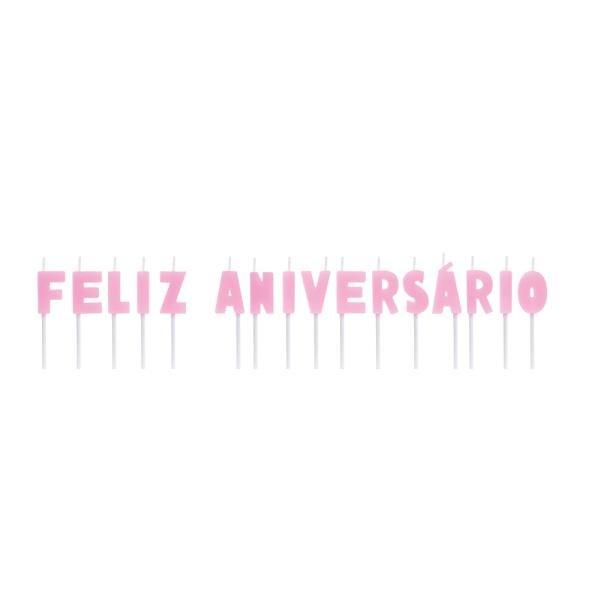 Vela Letras Feliz Aniversario Rosa - 01 unidade