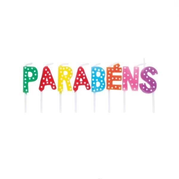 Vela Letras Parabens Colorido - 01 unidade