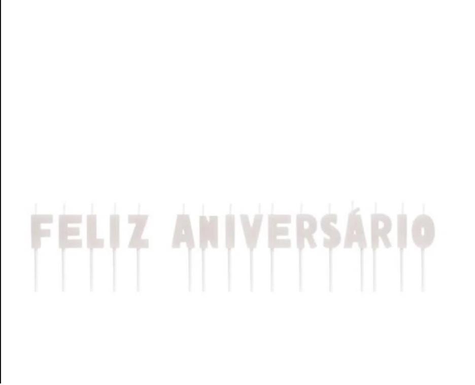 Velas Letras Feliz Aniversário Branco - 01 unidade
