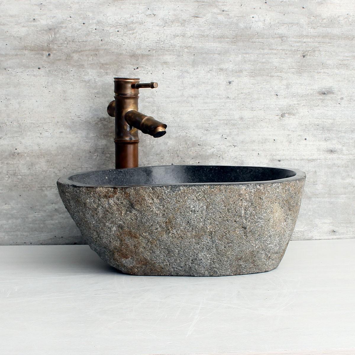Cuba de Banheiro em Pedra Natural RM1184 41x36x15cm