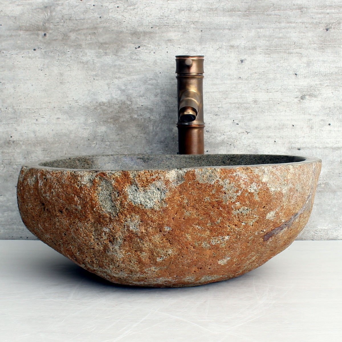 Cuba de Banheiro em Pedra Natural RM1199 42x38x15cm